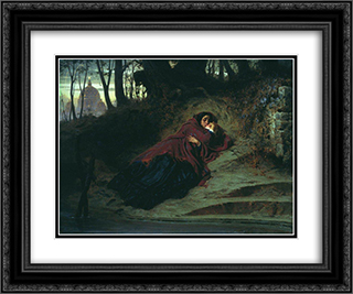 Abandoned 24x20 Black or Gold Ornate Framed and Double Matted Art Print by Fyodor Bronnikov