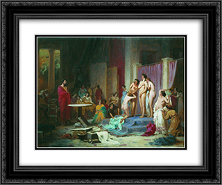 Apelles chooses nudes 24x20 Black or Gold Ornate Framed and Double Matted Art Print by Fyodor Bronnikov