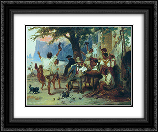 At a roadside tavern 24x20 Black or Gold Ornate Framed and Double Matted Art Print by Fyodor Bronnikov