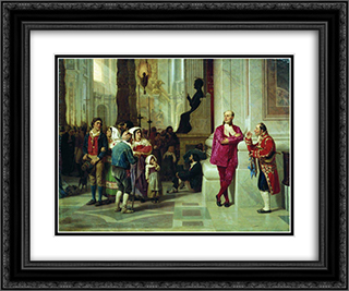 At the reception of the Pope 24x20 Black or Gold Ornate Framed and Double Matted Art Print by Fyodor Bronnikov