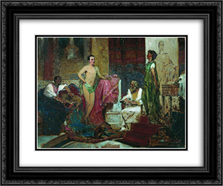 August with family 24x20 Black or Gold Ornate Framed and Double Matted Art Print by Fyodor Bronnikov