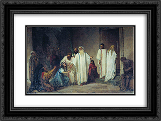 Before entering the arena 24x18 Black or Gold Ornate Framed and Double Matted Art Print by Fyodor Bronnikov
