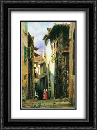 Bellagio 18x24 Black or Gold Ornate Framed and Double Matted Art Print by Fyodor Bronnikov