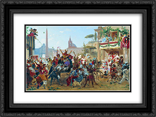 Carnival in Rome 24x18 Black or Gold Ornate Framed and Double Matted Art Print by Fyodor Bronnikov