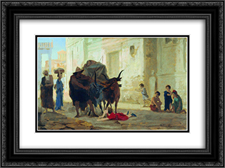 Children on the streets of Pompeii 24x18 Black or Gold Ornate Framed and Double Matted Art Print by Fyodor Bronnikov