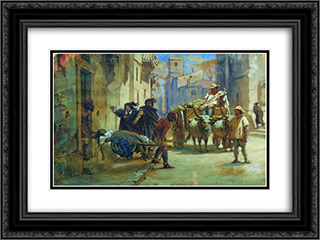 Cleaning corpses during an epidemic 24x18 Black or Gold Ornate Framed and Double Matted Art Print by Fyodor Bronnikov