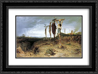Cursed field. The place of execution in ancient Rome. Crucified slave 24x18 Black or Gold Ornate Framed and Double Matted Art Print by Fyodor Bronnikov