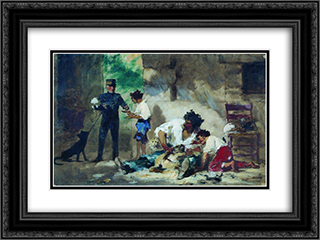 Dog Grooming in children portraits, 24x18 Black or Gold Ornate Framed and Double Matted Art Print by Fyodor Bronnikov
