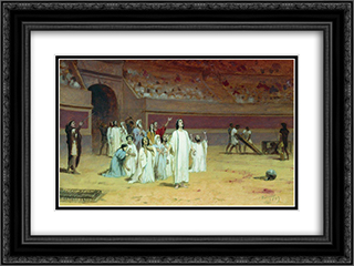Entering the arena 24x18 Black or Gold Ornate Framed and Double Matted Art Print by Fyodor Bronnikov