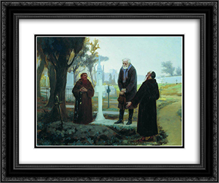 Exile in front of the grave 24x20 Black or Gold Ornate Framed and Double Matted Art Print by Fyodor Bronnikov