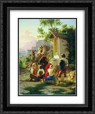 In the chapel 20x24 Black or Gold Ornate Framed and Double Matted Art Print by Fyodor Bronnikov