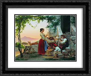 In the family 24x20 Black or Gold Ornate Framed and Double Matted Art Print by Fyodor Bronnikov