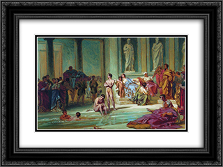 In the Roman Baths 24x18 Black or Gold Ornate Framed and Double Matted Art Print by Fyodor Bronnikov