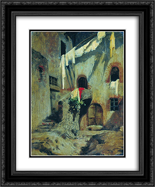 Italian Courtyard 20x24 Black or Gold Ornate Framed and Double Matted Art Print by Fyodor Bronnikov
