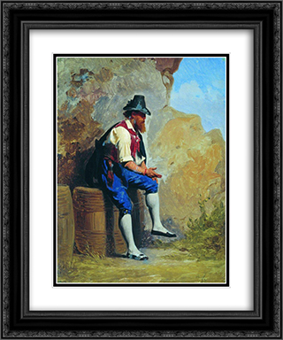 Italian peasant on the barrel 20x24 Black or Gold Ornate Framed and Double Matted Art Print by Fyodor Bronnikov