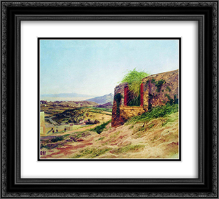 Landscape with ruins 22x20 Black or Gold Ornate Framed and Double Matted Art Print by Fyodor Bronnikov