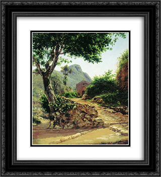 Landscape with Tree 20x22 Black or Gold Ornate Framed and Double Matted Art Print by Fyodor Bronnikov