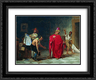 Masquerade 24x20 Black or Gold Ornate Framed and Double Matted Art Print by Fyodor Bronnikov