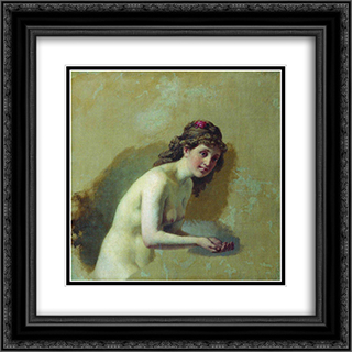 Nude wash 20x20 Black or Gold Ornate Framed and Double Matted Art Print by Fyodor Bronnikov