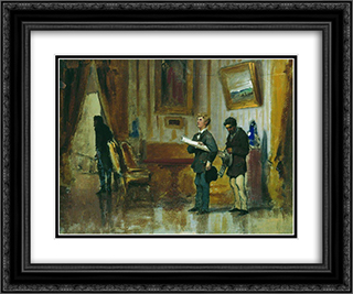 Painters in the hall of a rich man 24x20 Black or Gold Ornate Framed and Double Matted Art Print by Fyodor Bronnikov