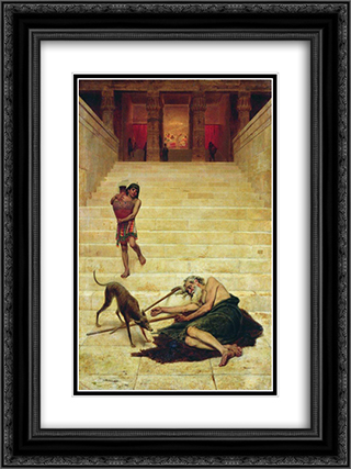 Parable of Lazarus 18x24 Black or Gold Ornate Framed and Double Matted Art Print by Fyodor Bronnikov