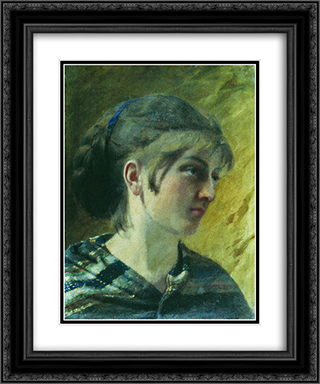 Portrait of a Girl 20x24 Black or Gold Ornate Framed and Double Matted Art Print by Fyodor Bronnikov