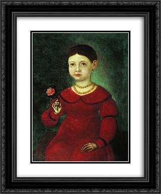 Portrait of a Girl Evdokia Kuznetsova 20x24 Black or Gold Ornate Framed and Double Matted Art Print by Fyodor Bronnikov