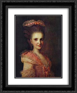 Portrait of an Unknown Lady in a Pink Dress 20x24 Black or Gold Ornate Framed and Double Matted Art Print by Fyodor Rokotov