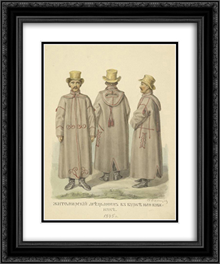 Burgher from Zhitomir in the cloak 20x24 Black or Gold Ornate Framed and Double Matted Art Print by Fyodor Solntsev