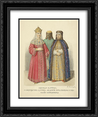 Clothing of queens. With portraits of queens Evdokia Lukianovny and Natalia Kirilovna 20x24 Black or Gold Ornate Framed and Double Matted Art Print by Fyodor Solntsev
