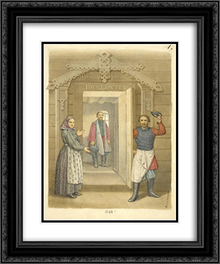 Clothing of the Russian state 20x24 Black or Gold Ornate Framed and Double Matted Art Print by Fyodor Solntsev
