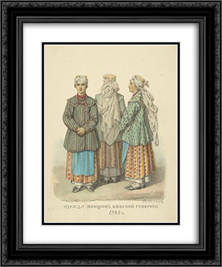 Clothing woman from Kiev Province 20x24 Black or Gold Ornate Framed and Double Matted Art Print by Fyodor Solntsev