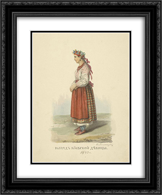 Dress of the Kiev girls 20x24 Black or Gold Ornate Framed and Double Matted Art Print by Fyodor Solntsev