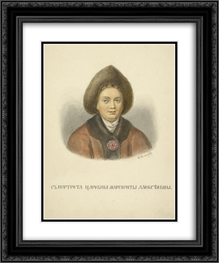 From portrait of Margaret Alekseevny 20x24 Black or Gold Ornate Framed and Double Matted Art Print by Fyodor Solntsev