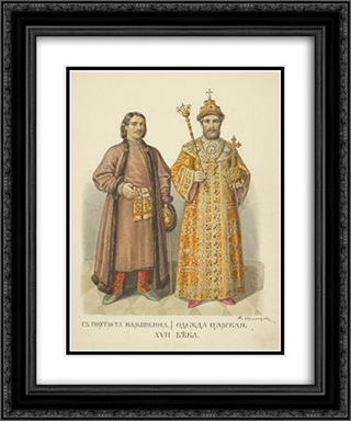 From portrait of the Naryshkin. Royal Clothing 20x24 Black or Gold Ornate Framed and Double Matted Art Print by Fyodor Solntsev
