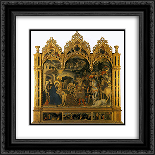 Adoration of the Magi, from the Strozzi Chapel in Santa Trinita, Florence 20x20 Black or Gold Ornate Framed and Double Matted Art Print by Gentile da Fabriano