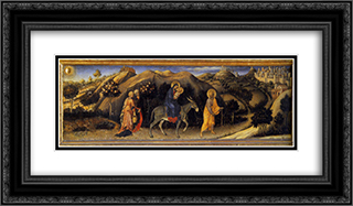 Adoration of the Magi Altarpiece, left hand predella panel depicting Rest during The Flight into Egypt 24x14 Black or Gold Ornate Framed and Double Matted Art Print by Gentile da Fabriano