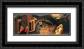 Adoration of the Magi Altarpiece, left hand predella panel depicting the Nativity 24x14 Black or Gold Ornate Framed and Double Matted Art Print by Gentile da Fabriano