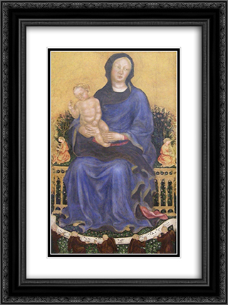 Enthroned Madonna with angels 18x24 Black or Gold Ornate Framed and Double Matted Art Print by Gentile da Fabriano