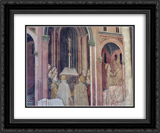 Loggia (the Founding of Rome) 24x20 Black or Gold Ornate Framed and Double Matted Art Print by Gentile da Fabriano
