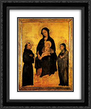 Madonna in Gloria between Saint Francis and Santa Chiara Gentile da Fabriano 20x24 Black or Gold Ornate Framed and Double Matted Art Print by Gentile da Fabriano