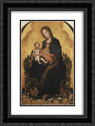Madonna with Angels 18x24 Black or Gold Ornate Framed and Double Matted Art Print by Gentile da Fabriano