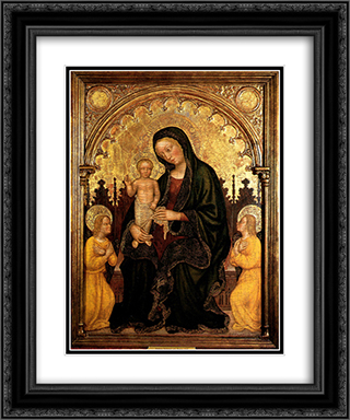 Madonna with Child and Two Angels Gentile da Fabriano 20x24 Black or Gold Ornate Framed and Double Matted Art Print by Gentile da Fabriano