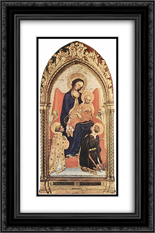 Madonna with St. Julian and St. Laurenzius 16x24 Black or Gold Ornate Framed and Double Matted Art Print by Gentile da Fabriano