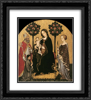 Mary Enthroned with the Child, Saints and a Donor 20x22 Black or Gold Ornate Framed and Double Matted Art Print by Gentile da Fabriano