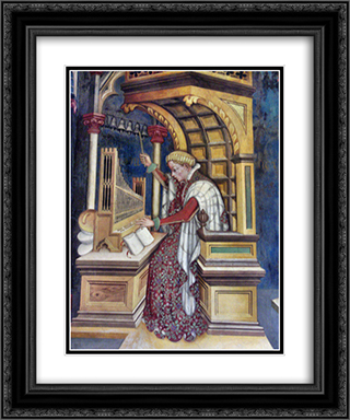 Music, Playing the Organ 20x24 Black or Gold Ornate Framed and Double Matted Art Print by Gentile da Fabriano