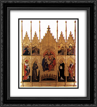 Polyptych of Valle Romita 20x22 Black or Gold Ornate Framed and Double Matted Art Print by Gentile da Fabriano