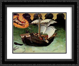 Quaratesi Altarpiece, St.Nicholas saves a storm tossed ship 24x20 Black or Gold Ornate Framed and Double Matted Art Print by Gentile da Fabriano