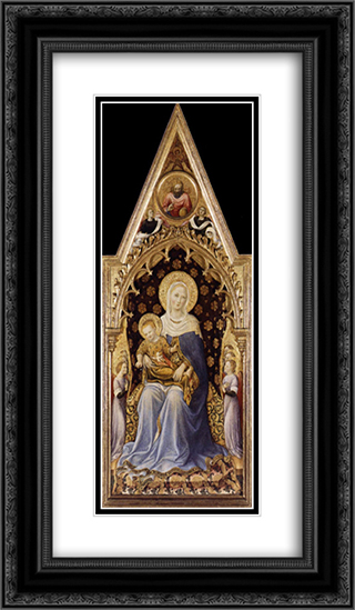 Quaratesi Altarpiece, Virgin and Child 14x24 Black or Gold Ornate Framed and Double Matted Art Print by Gentile da Fabriano