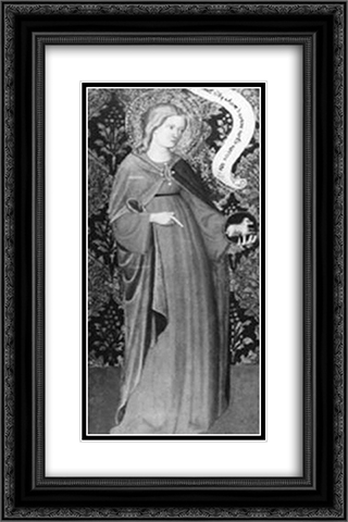 St. Agnes (wing of a diptych) 16x24 Black or Gold Ornate Framed and Double Matted Art Print by Gentile da Fabriano